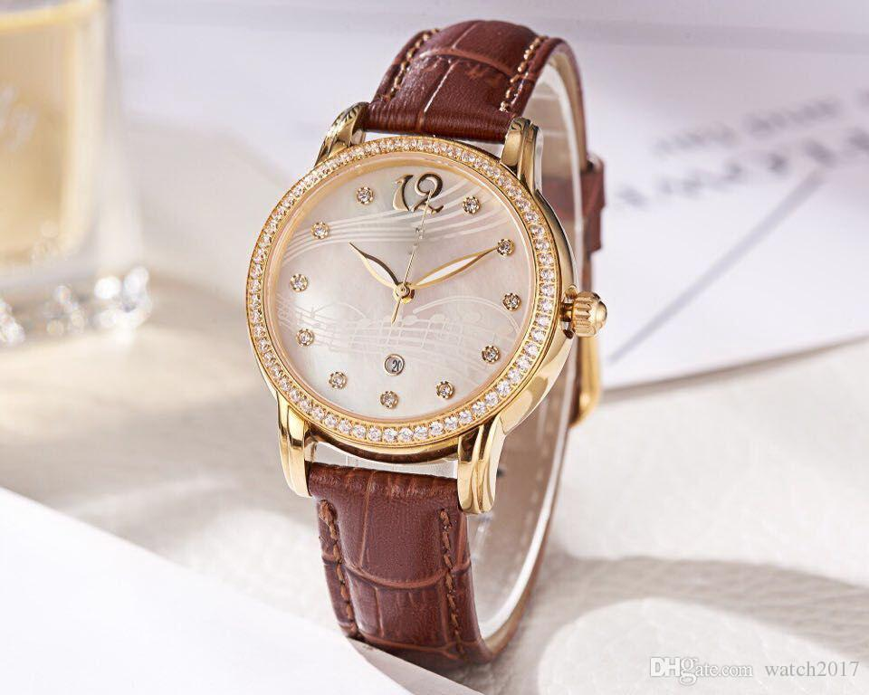 43fb2ea8fe42 Compre CINTURÓN MARRÓN Diamante Bisel Oro 33 MM CASO Noob Fábrica AAA Reloj  De Mujer Al Por Mayor Moda De Lujo A Estrenar Relojes De Acero Inoxidable  Para ...