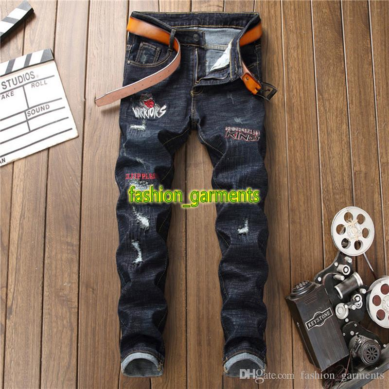 Brand New Fashion Personality Motorcycle Pants Mens Designer Jeans Mens Trousers Street Embroidery Personality Jeans Trend Slim Denim Pants