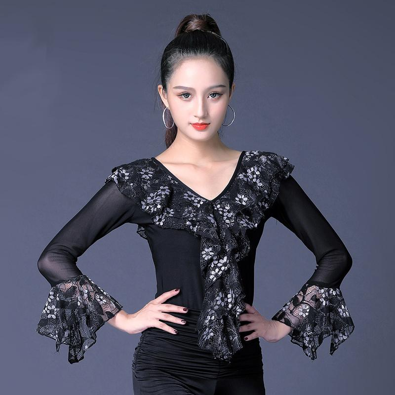 f6c1543c12a 2019 Fashion Ruffle V Neck Modern Sexy Latin Dance Clothes Top For Women  Female Lady Dancer