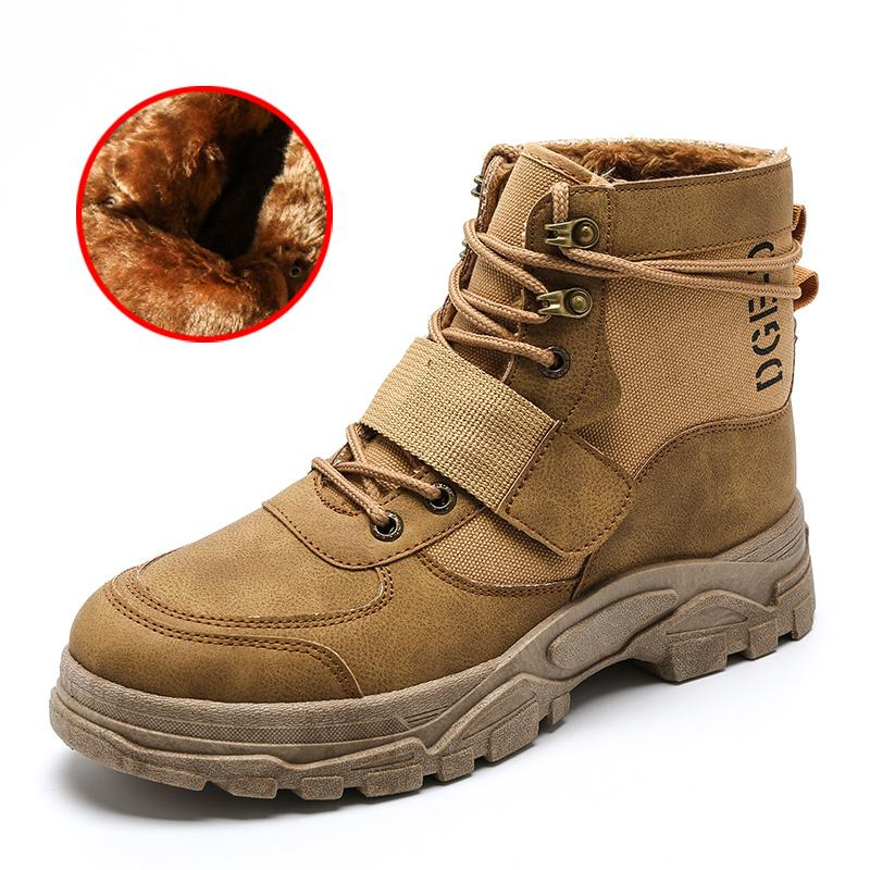 7edc8a10c Compre Botas Martin Para Hombre Marrón Negro Invierno Hombre Botas Con Piel  Cordones Para Arriba Moda Juvenil Zapatos Para Hombre Cómodos  Antideslizantes ...
