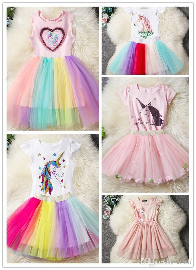 05a862526 Compre 3 8 Años Fancy Star Design Unicornio Vestido Para Niñas Princesa  Unicornio Vestidos De Fiesta Vestidos De Verano Para Niña Traje De Pascua A   7.53 ...