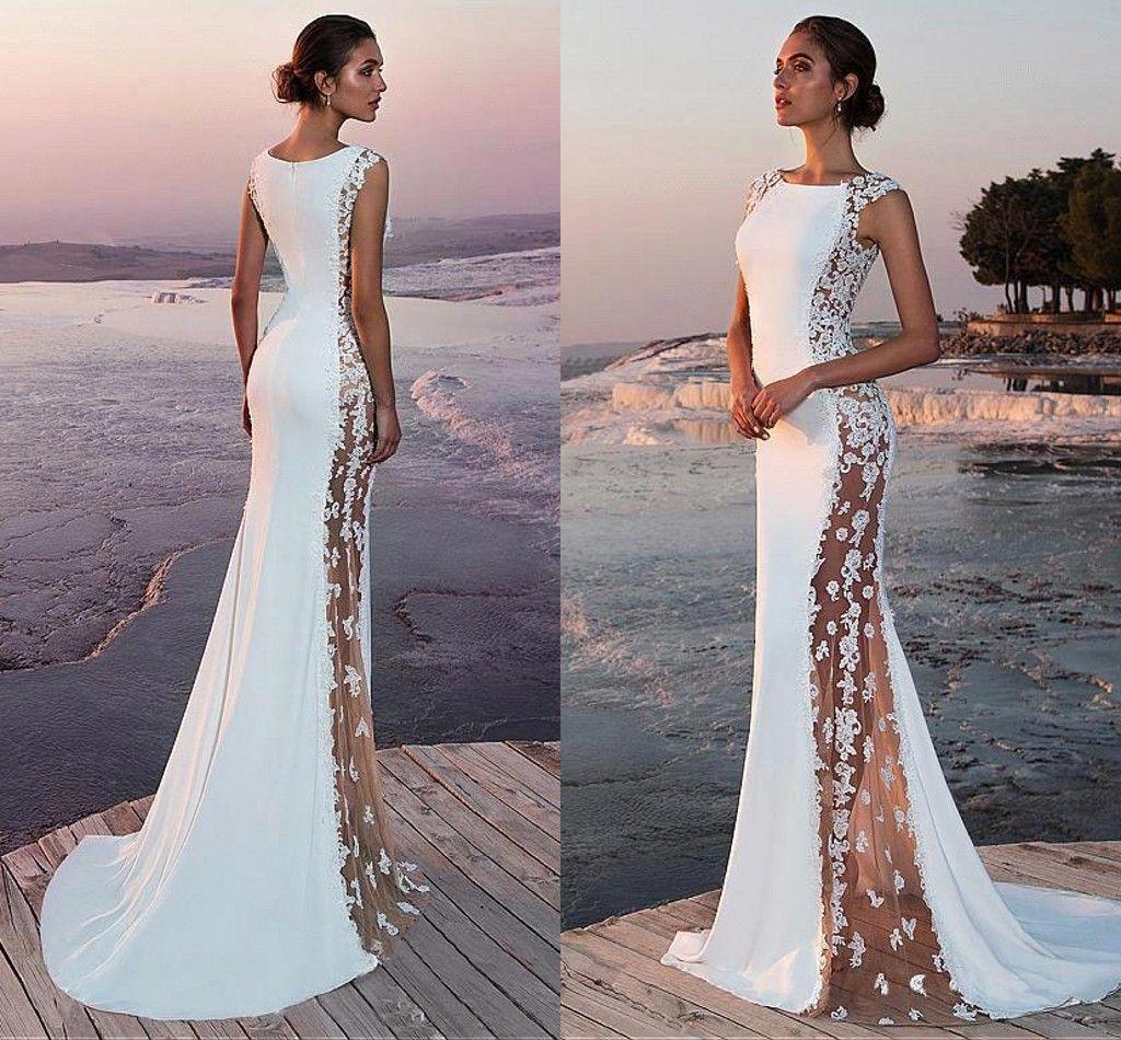 d0f20a38288 Compre 2019 Elegante Satén Blanco Sirena Vestidos Largos De Noche Vistos A  Través De Encaje Apliques De Tren Formales De Fiesta Vestidos De Noche  BC0599 A ...