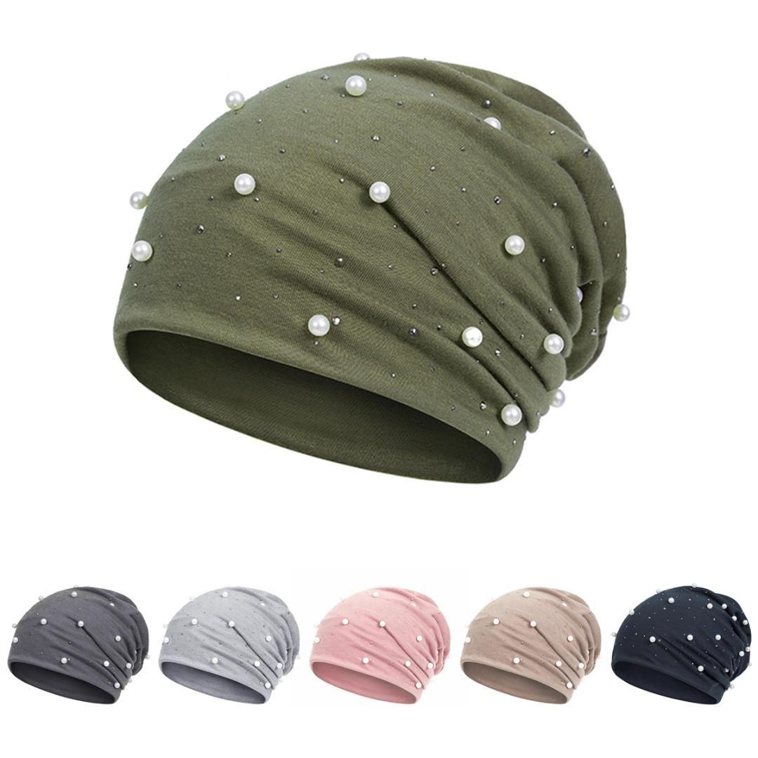c50f04aca61 Fashion Solid Color Women Skullies Beanies Pearl Winter Hat Female Ladies  Winter Beanies Soft Warm Cotton Hats Skullies   Beanies Cheap Skullies    Beanies ...