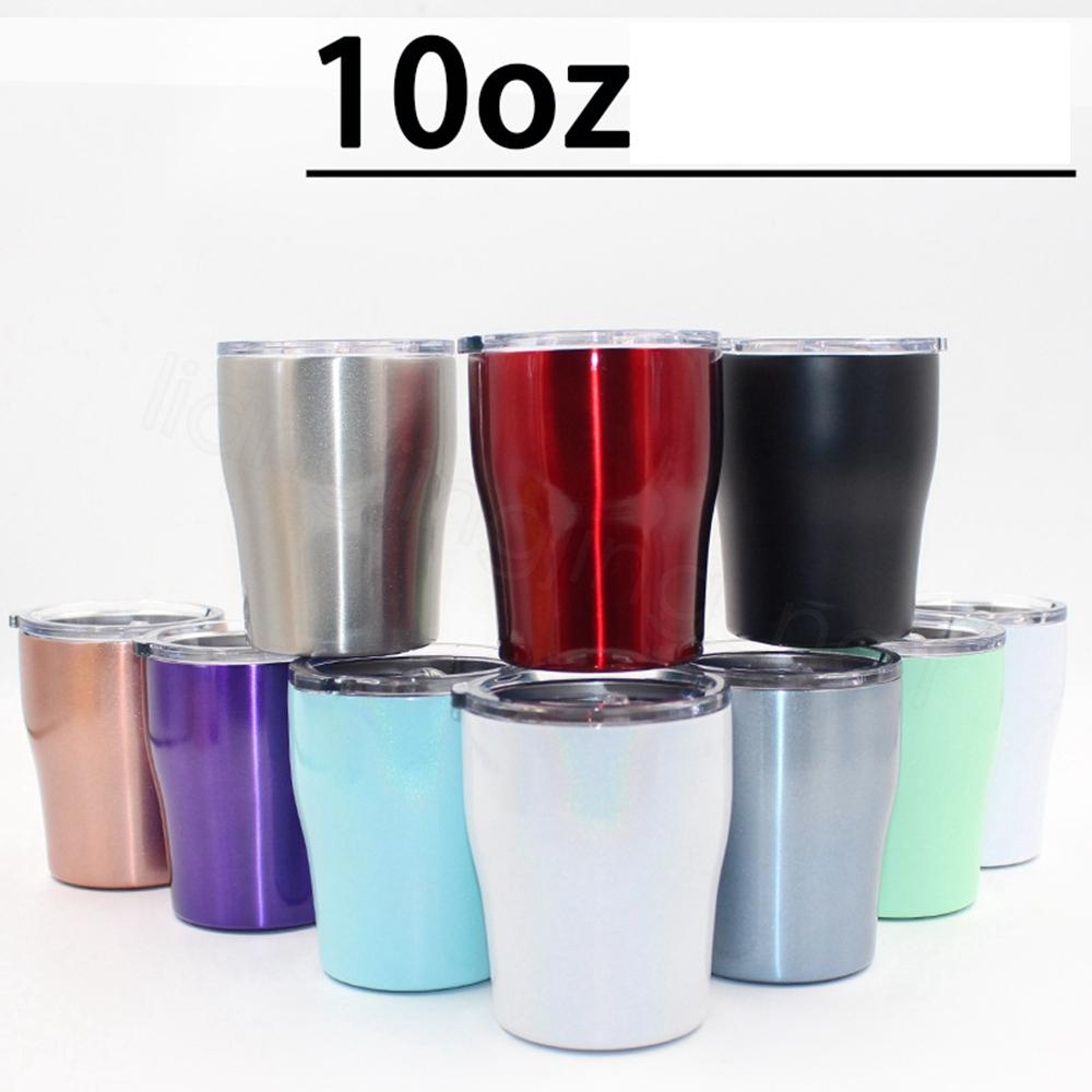 10oz Coffee Mug Vacuum Insulated Double Wall Stainless Steel Wine Glasses With Lid Kid Cup Beer Mug Travel car Tumbler drink holder FFA3318