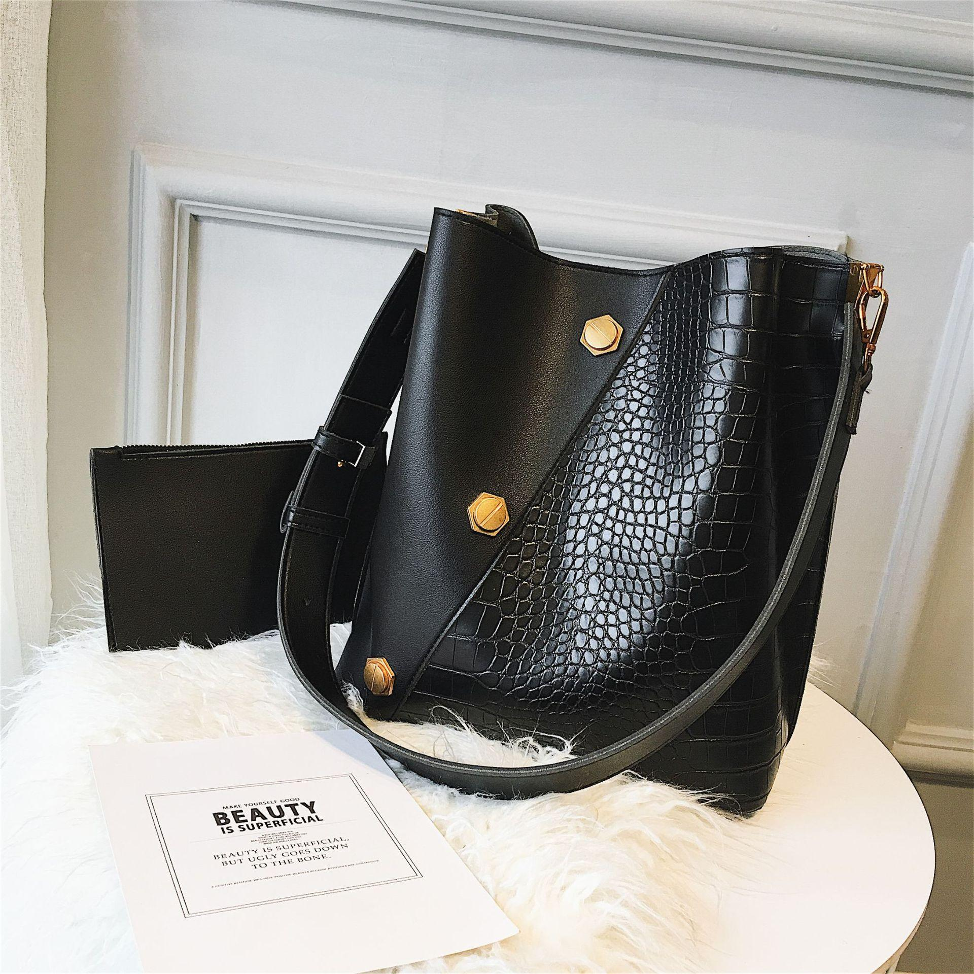f684d895ecd 2-in-1 Wide Strap Bucket Bags Women Leather Handbags High Quality Causal  Tote Ladies Shoulder Bags Brand original design