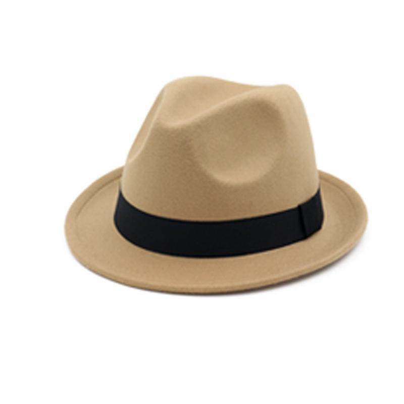 Compre Vintage Fieltro Negro Sombrero De Copa Sombreros Fedora Mujeres Para Hombres  Sombrero De Fieltro De Lana Sombreros Fedora Homme Feutre Fascinator ... b50f7e60a31