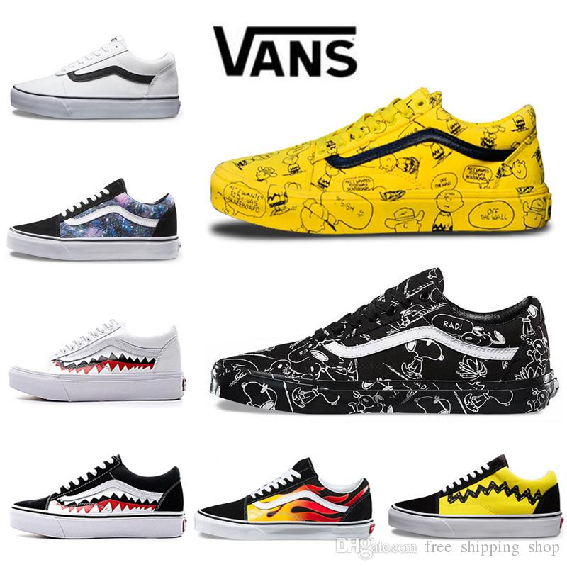 146be3ca82b Wholesale Vans Old Skool Men Women Casual Shoes Rock Flame Yacht Club  Sharktooth Peanuts Skateboard Mens Canvas Sports Running Shoes Sneaker  Yellow Shoes ...