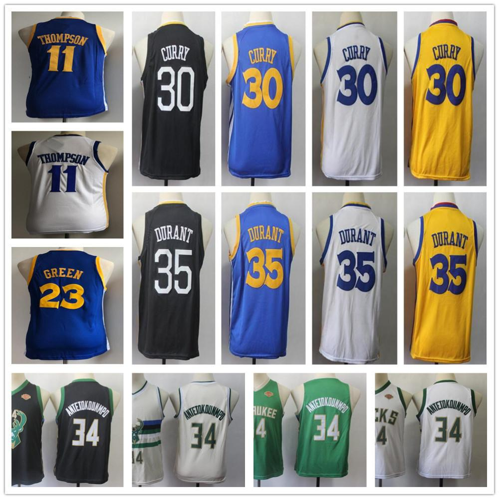 fce5a965664 2019 Youth Warriors Stephen  30 Curry Jersey Kids Klay 11 Thompson Kevin 35  Durant Draymond 23 Green Giannis 34 Antetokounmpo Basketball Jersey From ...