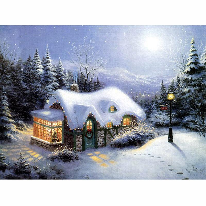 Feamos Diamond Winter Snow House Painting Cross Stitch Kit Embroidery Art Decor 5D