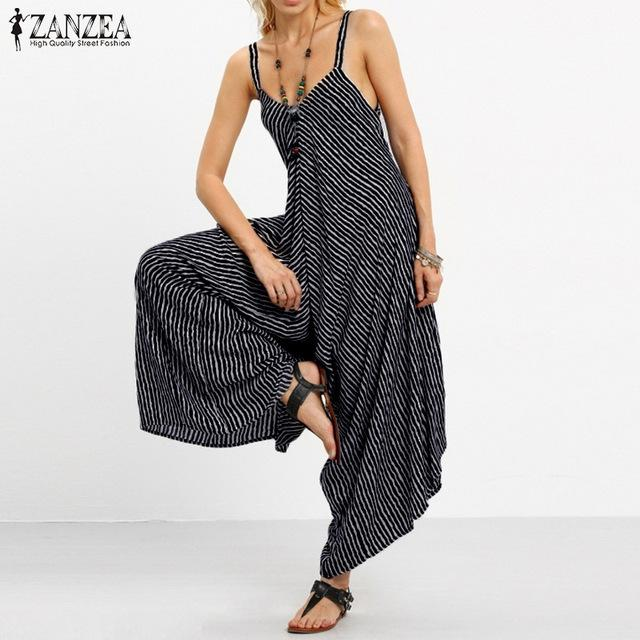 052e44538b1 2018 ZANZEA Rompers Womens Jumpsuit Sexy Strapless Casual Loose Striped  Playsuits Backless Summer Overalls Oversized S-5XL C18122501 Online with ...