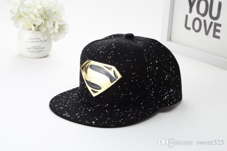 41629cfe73d66 Best Selling Street Dance Hat Trend New Black Superman Baseball Cap Couple  Metal Iron Flat Flat Hip Hop Casual Hat Baseball Cap Flat Cap From  Sweet525