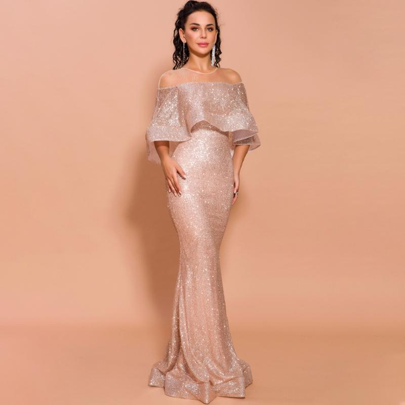 Beauty Lace Gloden Sequined Sexy Evening Dresses Long 2020 Boat Neck Formal Party Prom Reflective Dresses 2019 Vintage