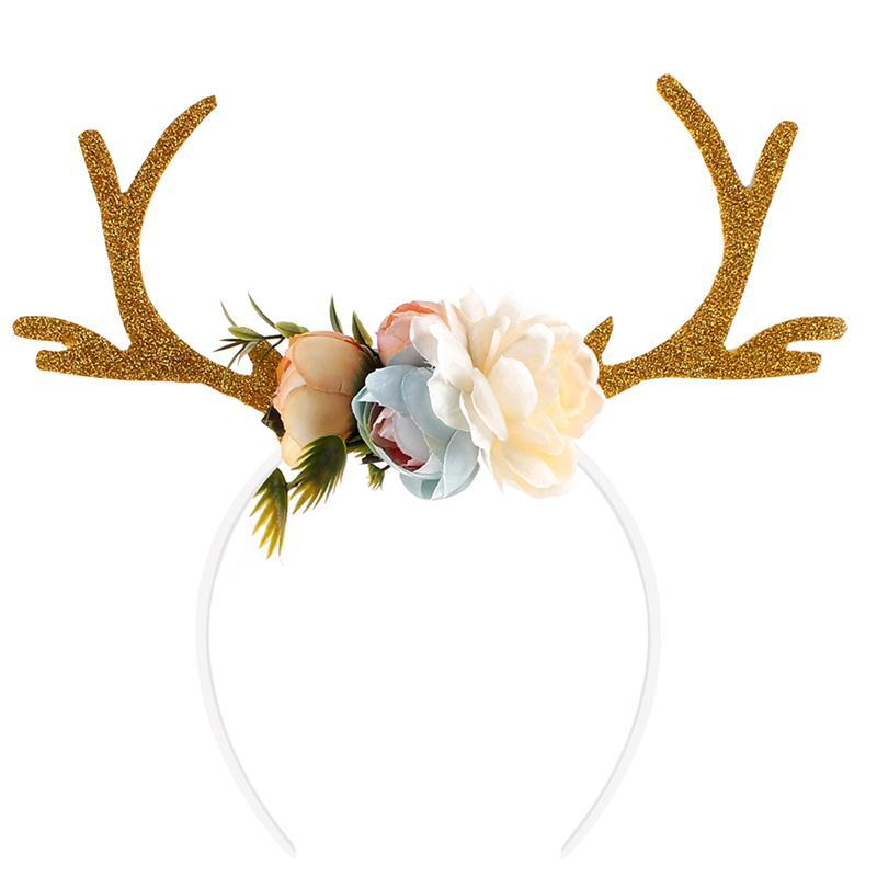b6b48420be7bd Kids Girls Funny Deer Antler Headband With Flowers Blossom Novelty Party  Hair Band Head Band Christmas Fancy Dress Costumes Cheap Xmas Decorations  Cheap ...