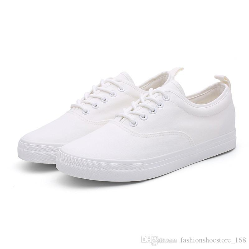 bebe2b60ed New Canvas Shoes Men White Sneakers Casual Flat Lace-up Adult Male Tenis  Footwear Soft Retro Classic Round Toe Breathable Black Casual Shoes