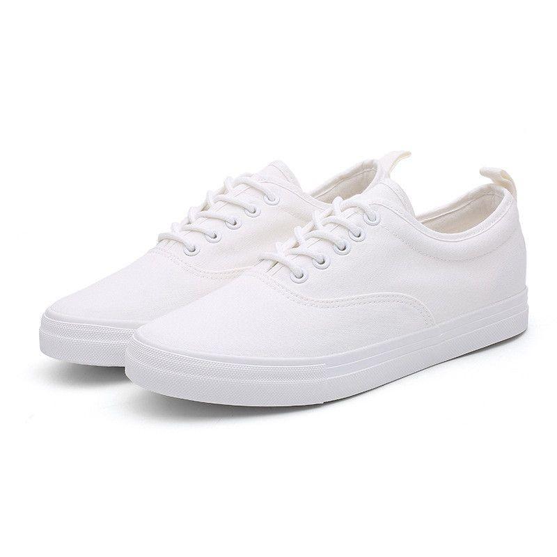 ec389963 Compre Nuevos Zapatos De Lona Para Hombre Zapatillas De Deporte Blancas  Casuales Con Cordones Adulto Hombre Tenis Calzado Suave Retro Clásico Punta  Redonda ...