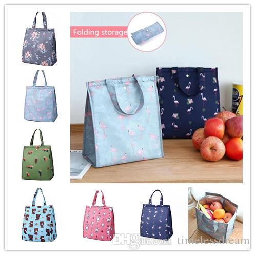 7fa943899112 Portable foldable lunch bags tote waterproof lunch box bag kitchen storage  bags outdoor travel picnic thermal bag carry bags