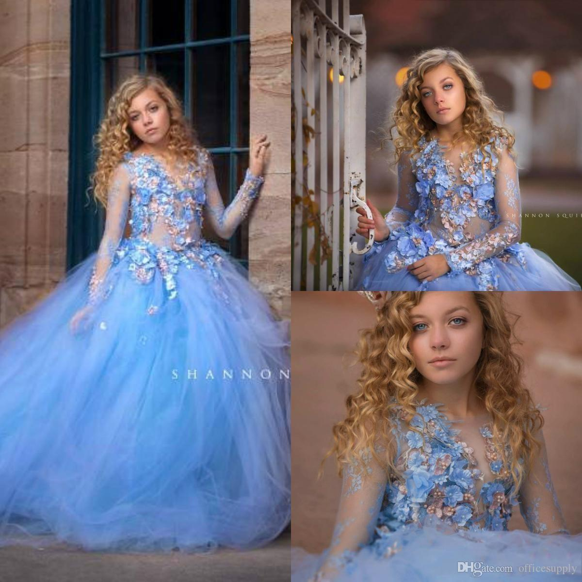 Sky Blue Princess Flowers Girls Dresses For Wedding Long Sleeve Appliques Beads Ball Gown Kids Pageant Gowns First Holy Communion Dress