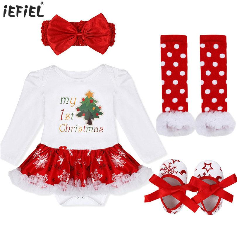 Newborn baby jumpsuit My First Christmas Costumes Infant Toddler Baby Girls Christmas tree Deer Stocking Santa Clause Romper Set Y18120801
