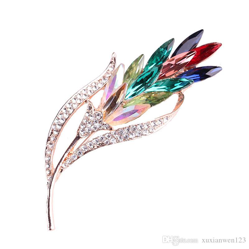 Fashion Rhinestone Champagne Brooch Pin Women Wedding Bridal Party Flower Crystal Bouquet Brooch Gifts