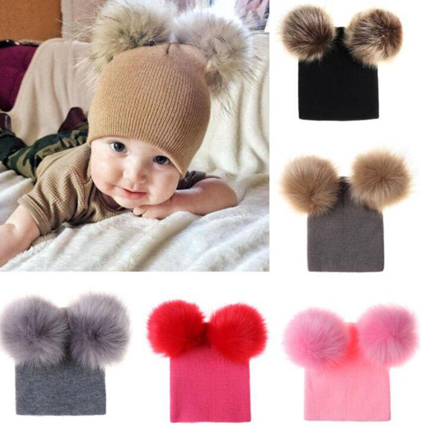 929b0f5a043 Baby Kids Winter Hat Knitted Warm Double Fur Pompom Caps Beanies ...