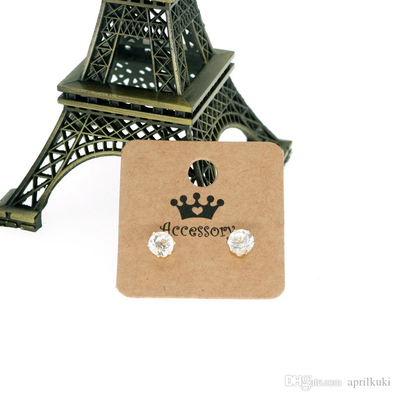 100 pcs/lot 4*4cm Blank Kraft Paper Earring Cards Hang Tag Jewelry Display Ear Stud Cards Favor Label Tag Can Custom Logo