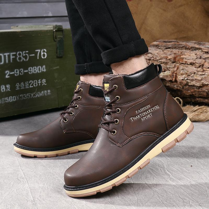 7c7f12acf915 2019 Fashion Winter Boots Men Waterproof Snow Boots Super Warm Men's Pu  Leather Ankle Leisure Mens Shoes HH-120