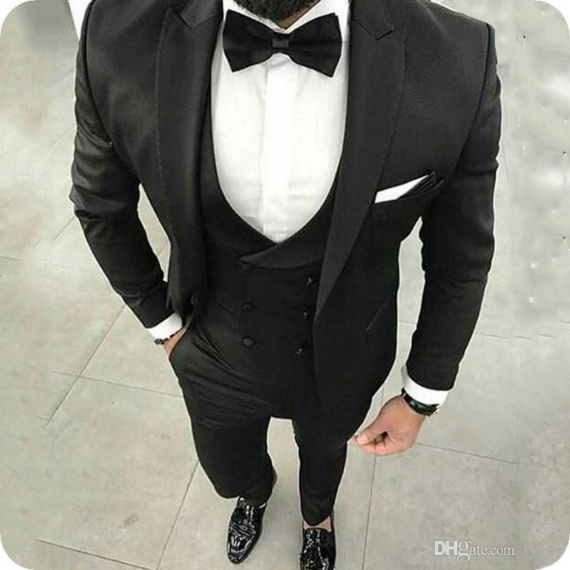 Latest Designs Black Men Suits Business Groom Wedding Tuxedos Casual Man Jacket 3Piece Peaked Lapel Slim Fit Bridegroom Blazer Costume Homme