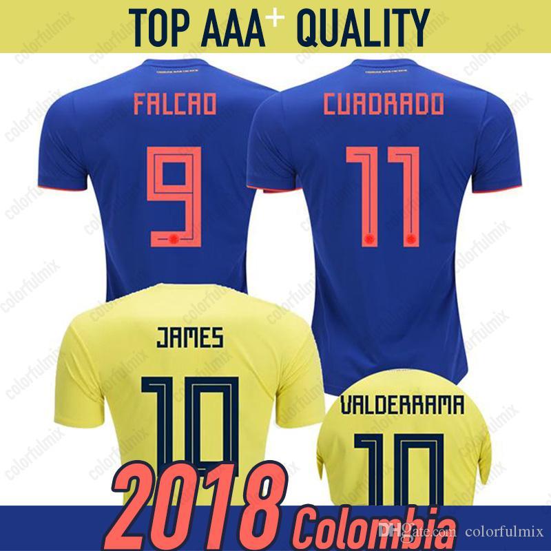 18f6f7b39 Compre Colombia Camisas De Futebol 2018 Copa Do Mundo Maillot De Pé  Colômbia Fora Azul Camisa De Futebol 2019 JAMES Rodriguez Camiseta BOCCA  FALCAO CUADRADO ...