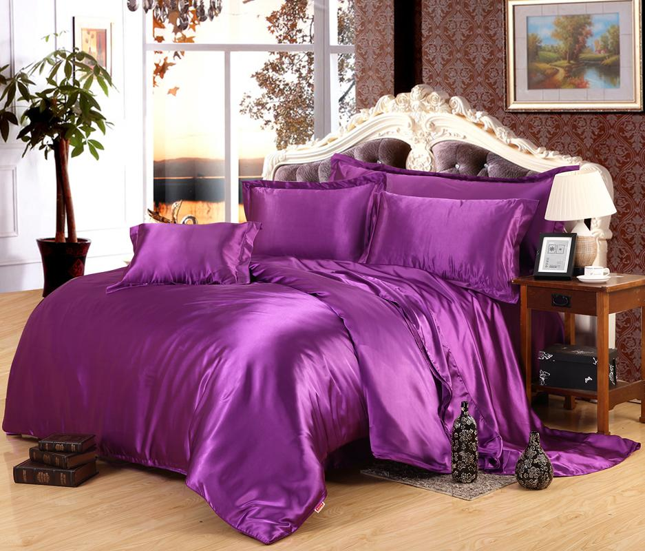 BEST.WENSD 100% pure satin silk bedshee bedding set,Home Textile King size bed set,bedclothes duvet cover flat sheet pillowcase