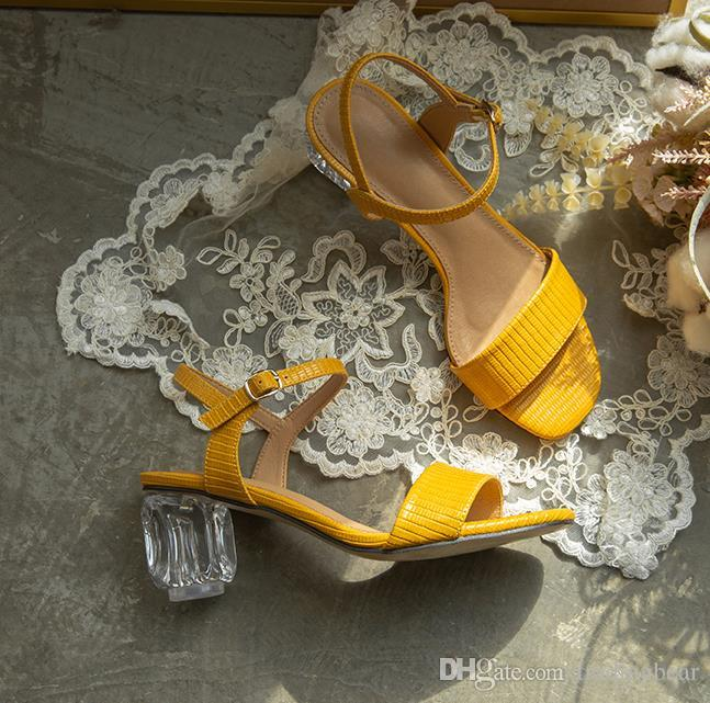 size 34 to 42 43 chic yellow crystal transparent heel sandals comfortable chunky heels brown black