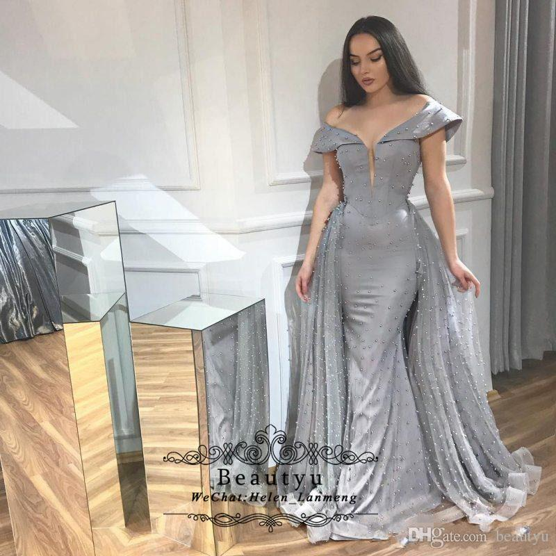 2af105a2e2140 Arabic Pearls Mermaid Evening Dresses 2019 Detachable Train Silver Gray Off  Shoulder Dubai Caftan Two Piece Long Prom Gowns Special Occasion