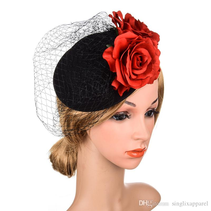 Black Netted Fascinator Hat with 2 Red Roses England Festival Cocktail Party Ladies Hair Clip Rhinestone Women's Hair Accessories Flowers