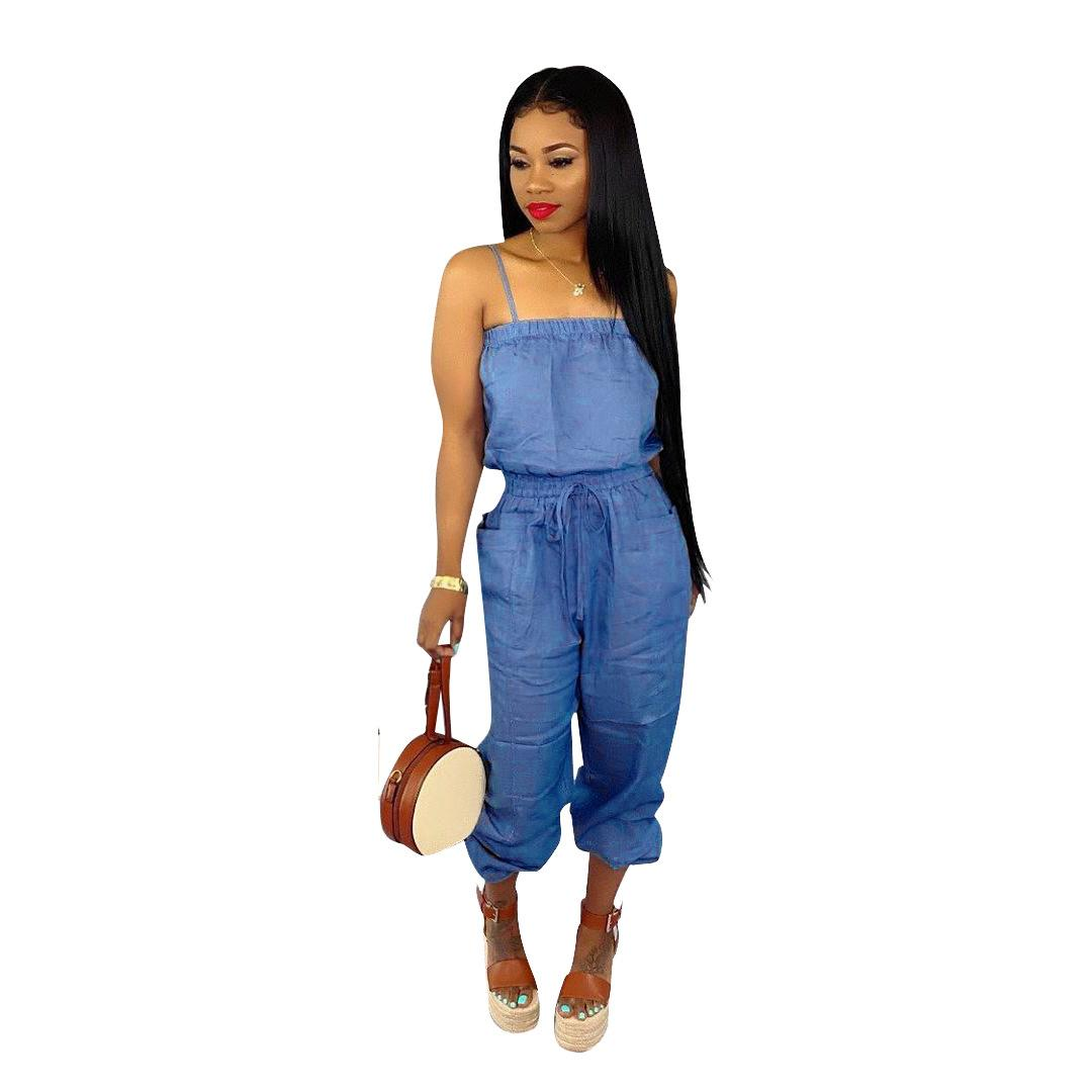 Womens Summer Sólido Color Sling Jumpsuit Casual Loose Sleeveless Tube Top Blue Ropa Sexy Mamelucos de moda