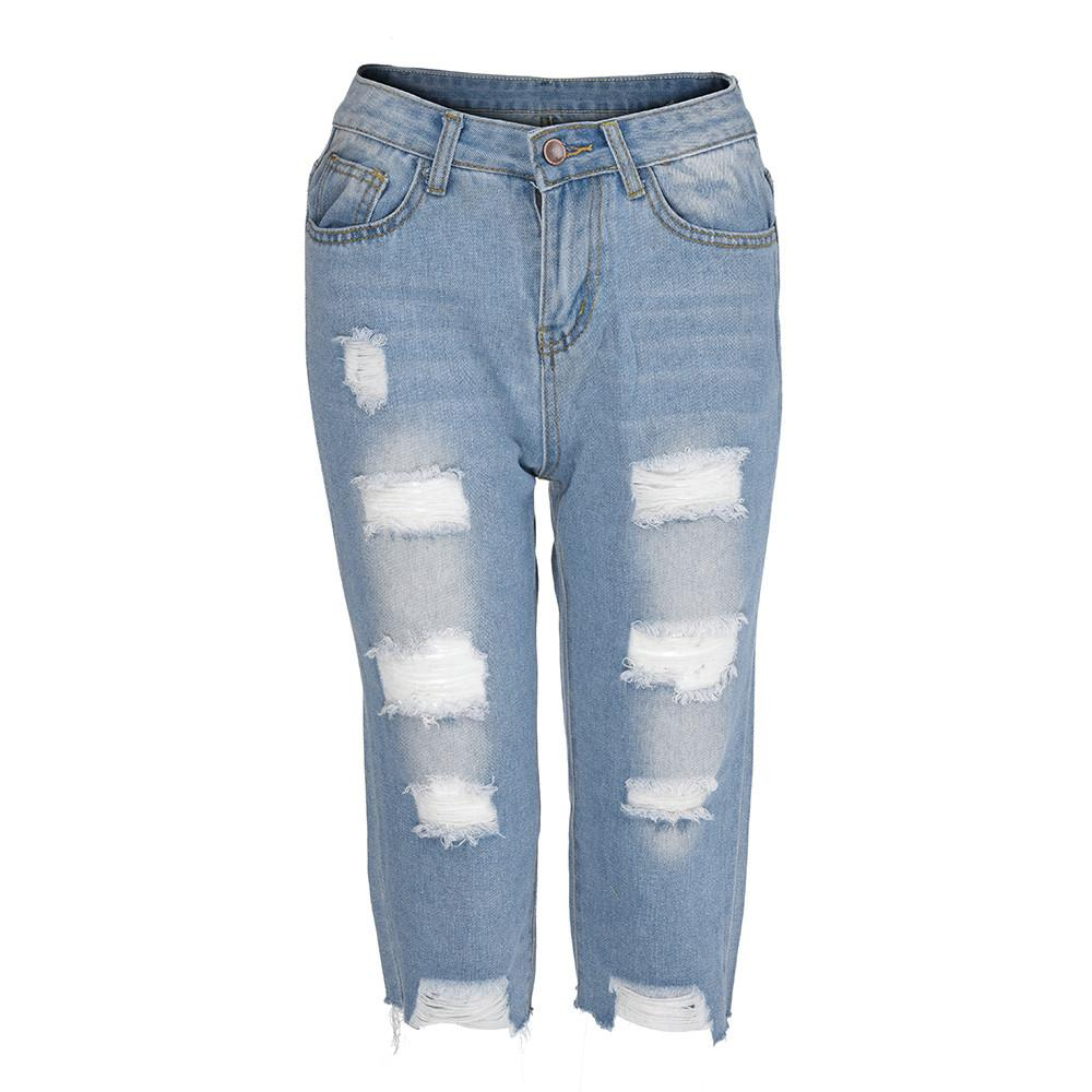 fe8f52b573751 2019 Womens Casual Elastic Denim Leggings Destroyed Bermuda Knee Length  Hole Skinny Button Fly Jeans Pants From Undervivi