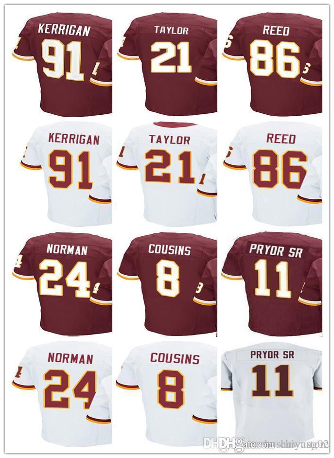 7e23dd98a 2018 Men S Washington Redskins Jersey  8 Kirk Cousins 21 Sean Taylor 24  Josh Norman 86 Reed 91 Ryan Kerrigan 11 Terrelle Pryor SR Jersey From  Chiyustore