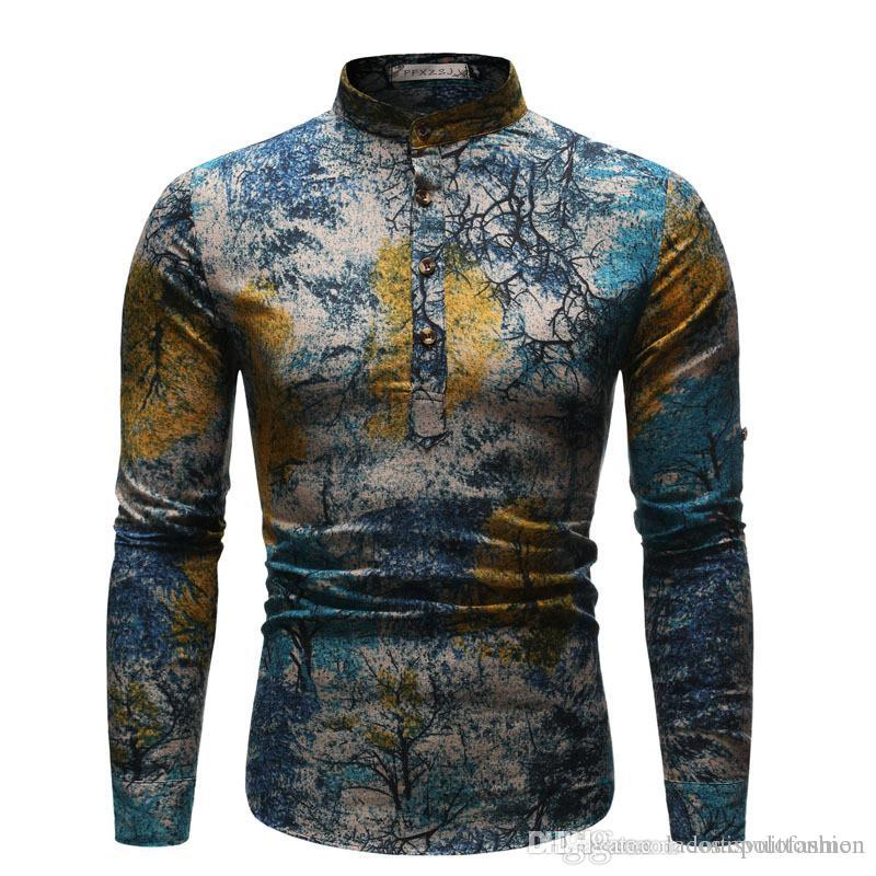 Ethnic Styles Mens Shirt The Starry Night Print Mens Casual Clothes Oil Painting Styles Homme Tops