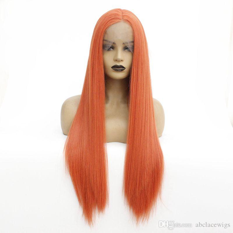 Charming Color Soft Long Silky Straight Wigs Heat Resistant Synthetic Lace Front Wigs for Black Women