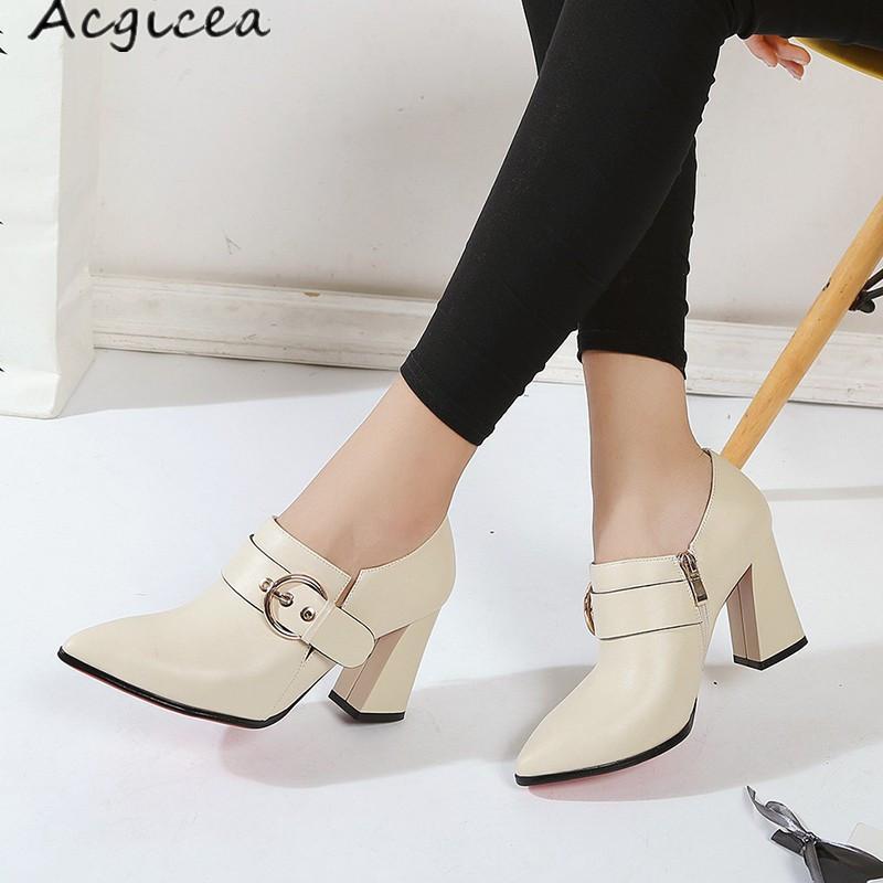 36b7d86b Compre Vestido 2019 Zapatos De Mujer Primavera Verano 2018 Moda Para Mujer  Nueva Punta Estrecha Simple Versátil Grueso Con Tacones Altos Zapatos De  Cuero ...
