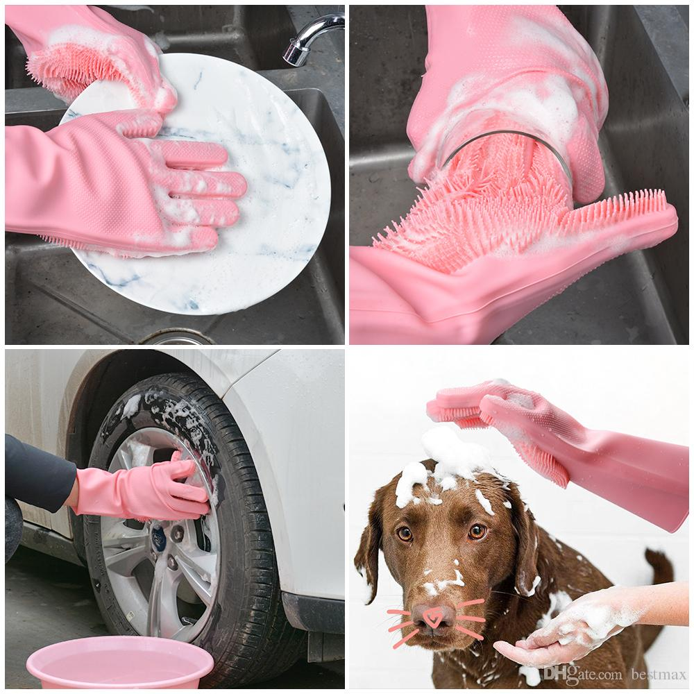 Magic Silicone Dish Washing Guanti Accessori cucina Dishwashing Glove Utensili per la casa per la pulizia Spazzola per animali domestici
