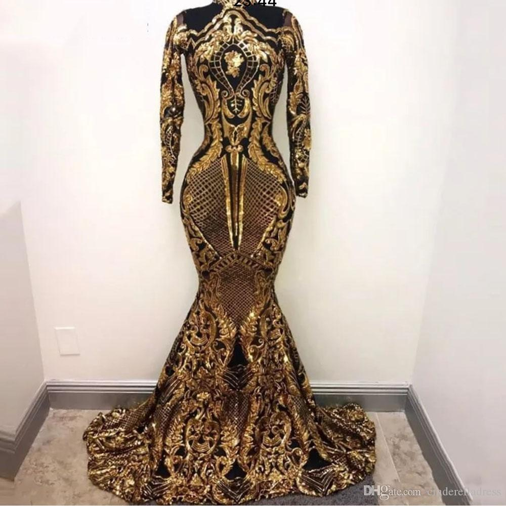 Gold Arabic Muslim Long Sleeves Mermaid Evening Dresses 2019 Sequins Bling Moroccan Kaftan Prom Dress Formal Party Gowns For Women