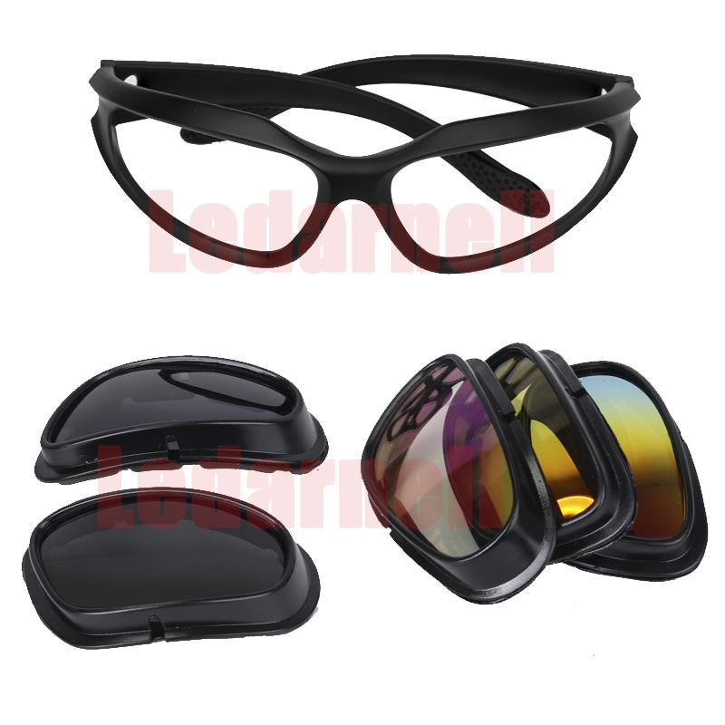 21c190d8fc7 2019 Motorcycle Glasses Riding Goggles Protective Motorcycle Glasses With 4  Lens Kit For Outdoor Activity Sport Sunglasses From Bluelike