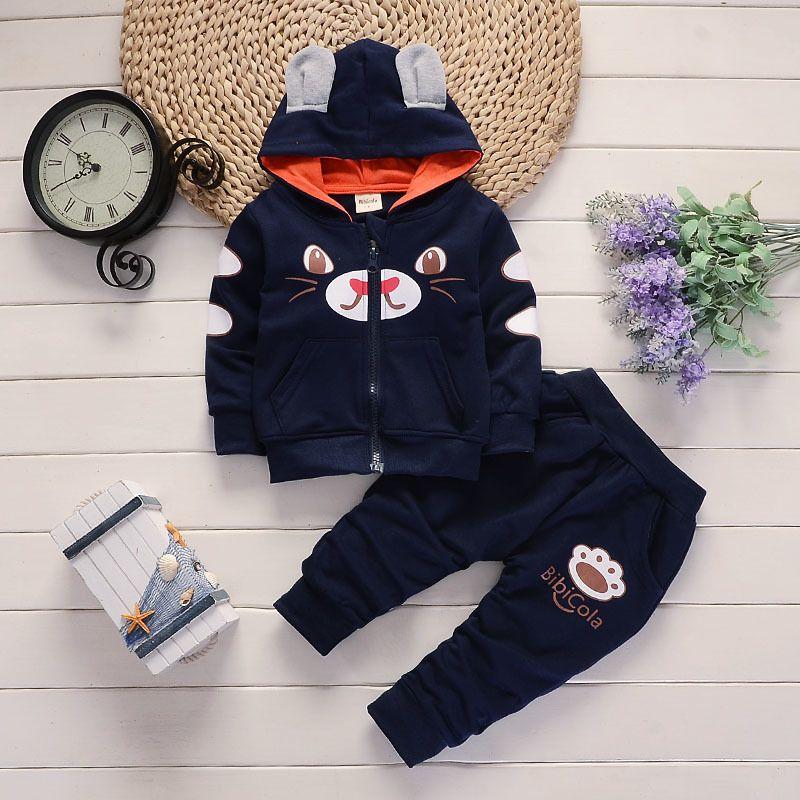 ec4345670 Compre Buena Calidad Para Niños Bebés Niños Ropa Conjunto Niños Ropa  Conjunto Perro De Dibujos Animados Con Capucha Abrigo + Pantalones 2 Unids  Deporte ...