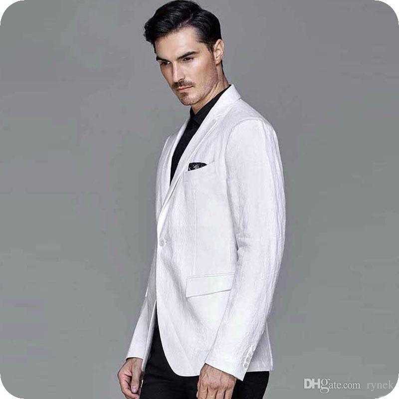 40d67d16f9c Latest Coat Pant Designs Linen White Men Suits For Wedding Casual Groom  Tuxedos Smart Groomsmen Blazer Summer Beach Bridegroom Jacket UK 2019 From  Rynek