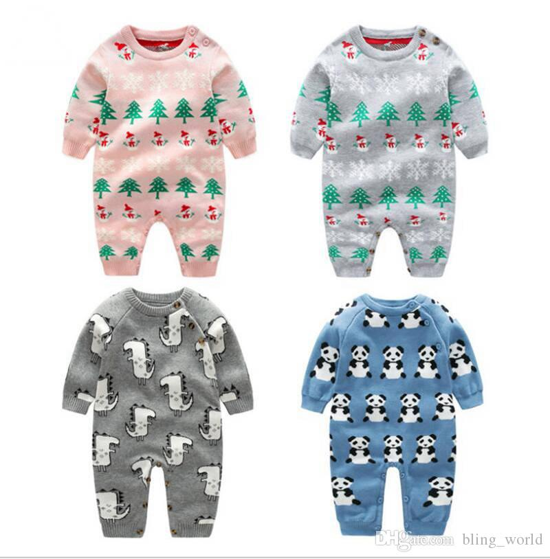 7d19f58d 2019 Baby Knit Romper Christmas Animal Design Jumpsuit Children Long Sleeve  Rompers Baby Cotton Outwear Toddler Onesies Free DHL YL949 From  Bling_world, ...