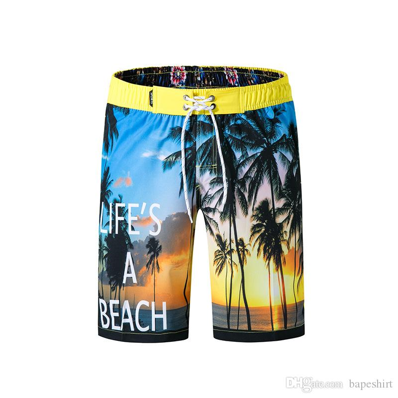 2bd7436b54 New Men's Loose Beach Pants Four-sided Digital Printing Quick-drying  Trousers Fashion Trend Men's Shorts Size M-3XL