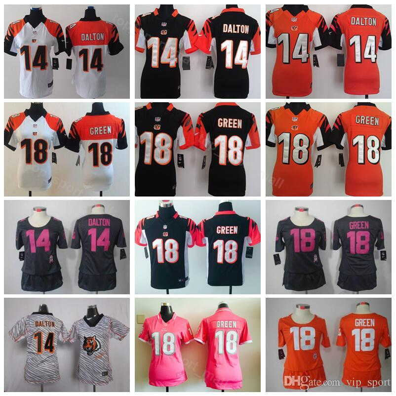 newest collection f9dde 1f429 Youth Andy Cincinnati Dalton Jersey 14 Kids Children Bengals Football 18 AJ  Green Women Jerseys Lady Woman Black Orange White Pink