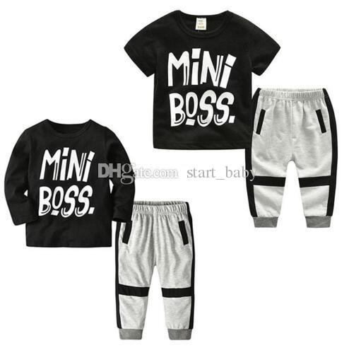 e969d8a13f01 2019 Baby INS Outfits Boys MiNi Boss Letter Print Top+Pants 2018 Summer  Boutique Kids Clothing Sets B11 From Start baby