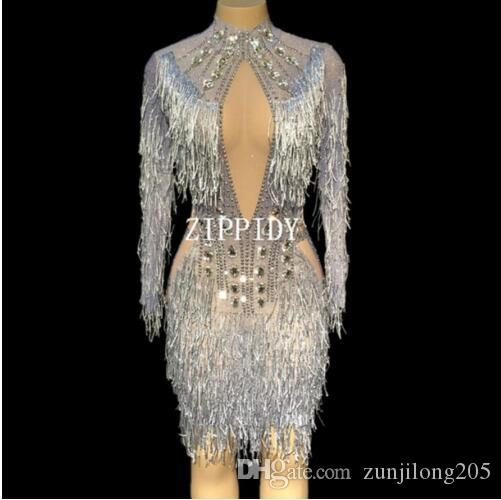 722666c234 2019 Fashion Tassel Perspective Dress Women Birthday Celebrate See Through  Mesh Dress Gray Fringes Costume Dance Dress YOUDU Bodysuit Online with ...