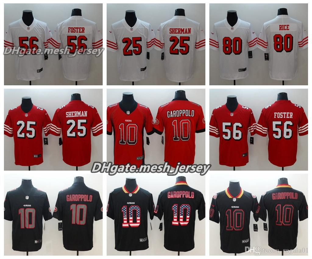 23cfad4e8 2019 Men San Francisco Jersey 49ers 10 Jimmy Garoppolo 80 Jerry Rice 56  Reuben Foster 25 Richard Sherman Color Rush Football Jerseys From  Mesh jersey01