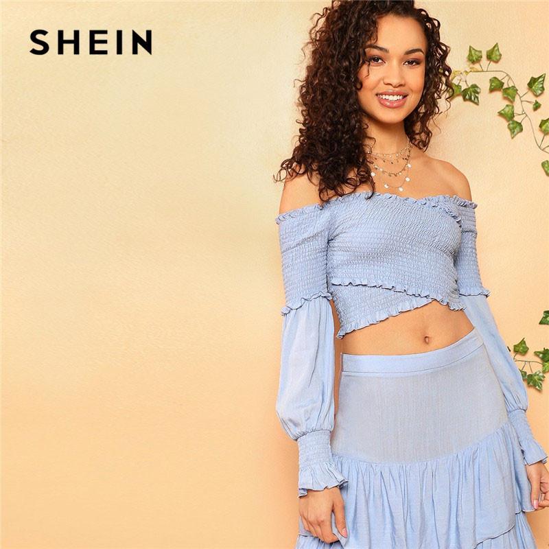 f284cf34ab8fa2 2019 SHEIN Cross Wrap Shirred Off The Shoulder Crop Top Zip Back Layered  Ruffle Maxi Skirt Women Spring Summer Boho Two Piece Set From Haitan